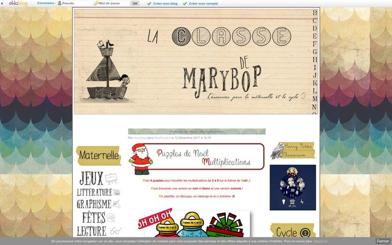 Puzzles de Noel - Multiplications - La Classe de Marybop